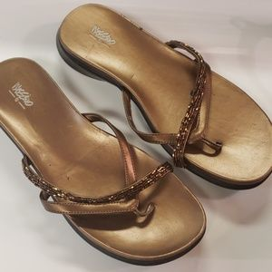 Women Jeweled Bronze Leather Sandals